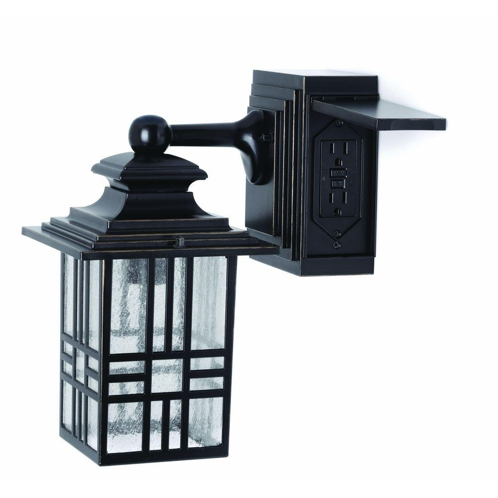 Hampton Bay Mission Style Black With Bronze Highlight Outdoor Wall Pertaining To Famous Outdoor Wall Lighting With Outlet (View 1 of 20)