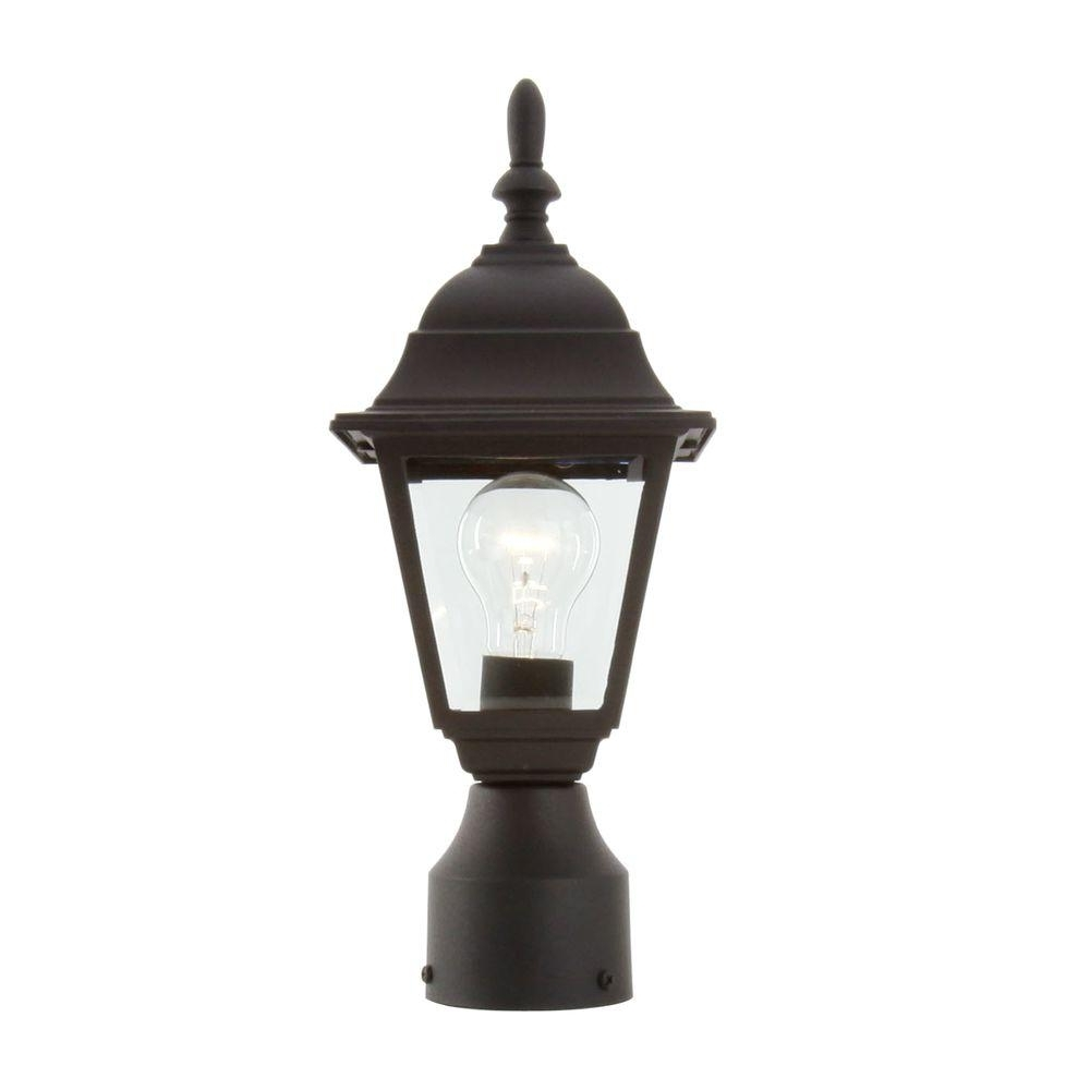 Hampton Bay Outdoor Lighting At Home Depot Regarding Well Known Hampton Bay 1 Light Black Outdoor Lamp Hb7026P 05 – The Home Depot (View 9 of 20)