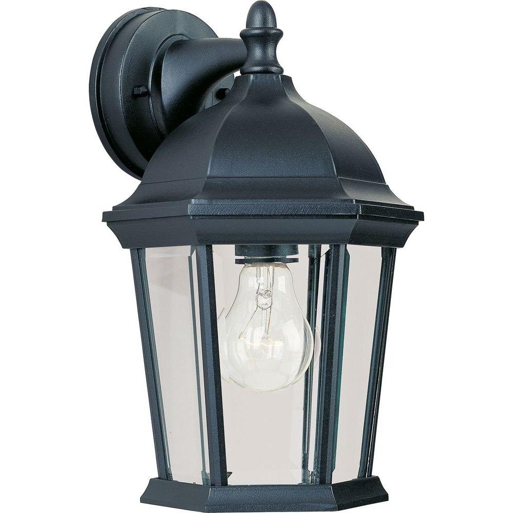 Hampton Bay Outdoor Lighting At Wayfair With Most Current Maxim Lighting Builder Cast 1 Light Black Outdoor Wall Mount 1024Bk (View 2 of 20)