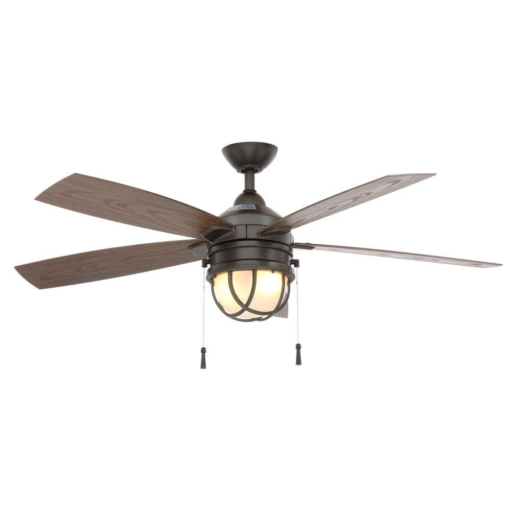 Hampton Bay Seaport 52 In. Led Indoor/outdoor Natural Iron Ceiling In Recent Outdoor Ceiling Fan Lights (Gallery 2 of 20)