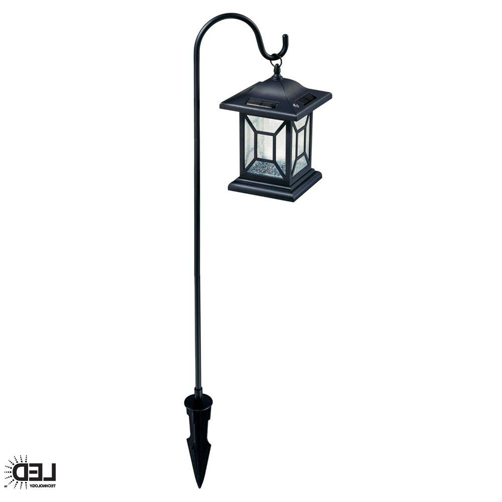 Hampton Bay Solar Black Outdoor Integrated Led Diamond Shepard Hook In Popular Solar Driveway Lights At Home Depot (View 5 of 20)