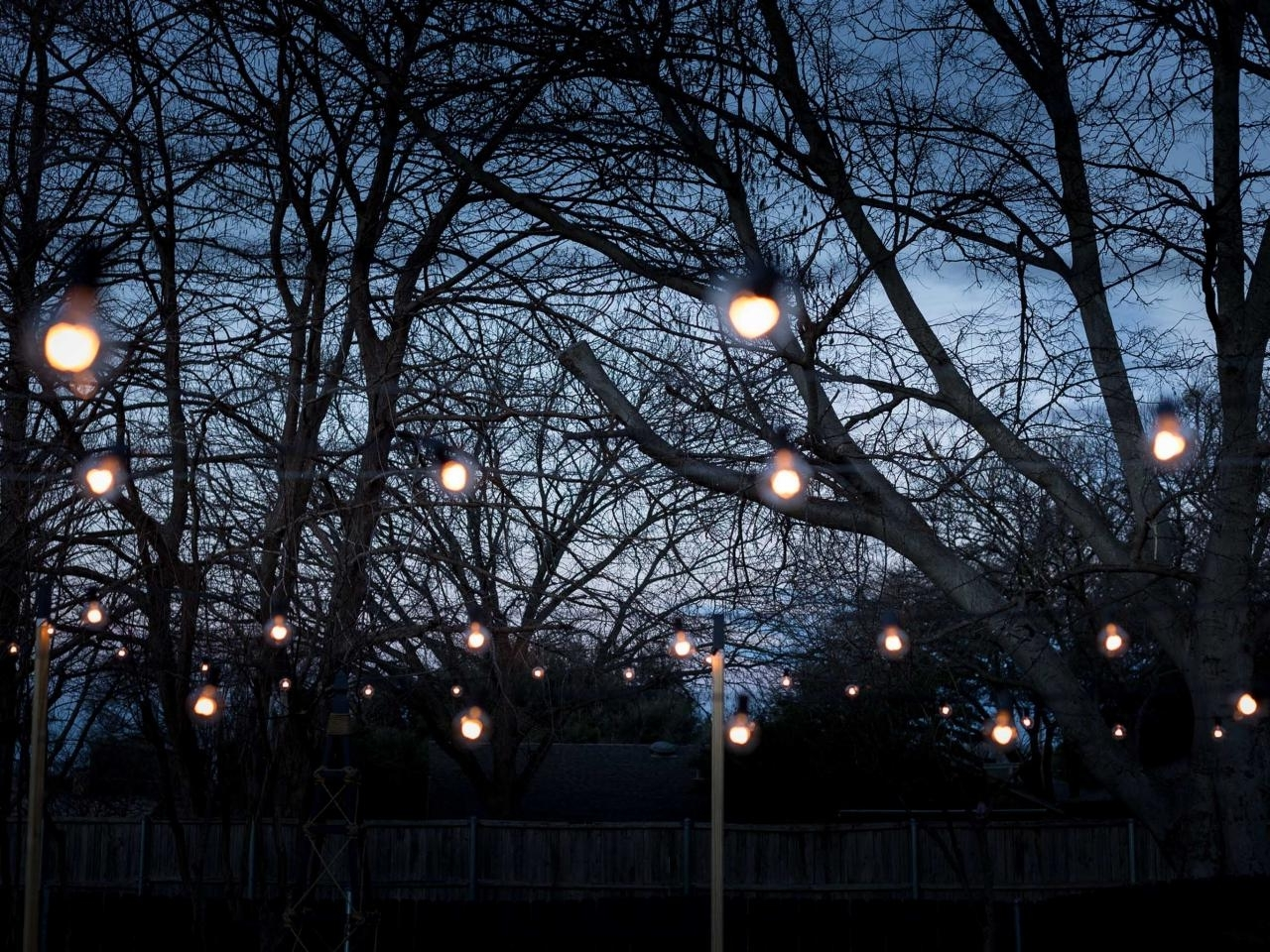 Hanging Lights In Outdoor Trees Throughout 2018 How To Hang Outdoor String Lights From Diy Posts (View 8 of 20)