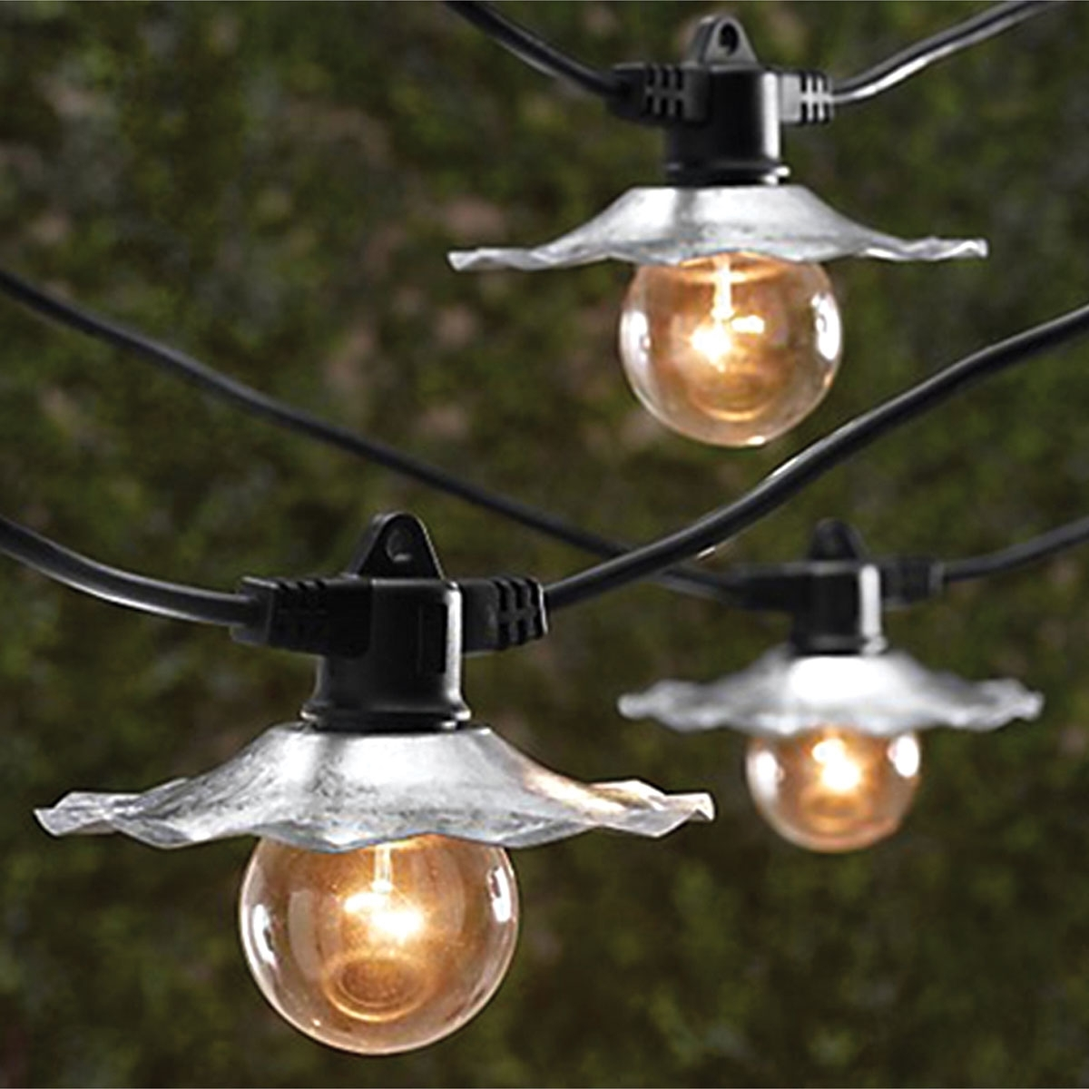 Hanging Outdoor Cafe Lights Intended For Preferred String Lights With Galvanized Silver Shades – 35 Ft (View 12 of 20)