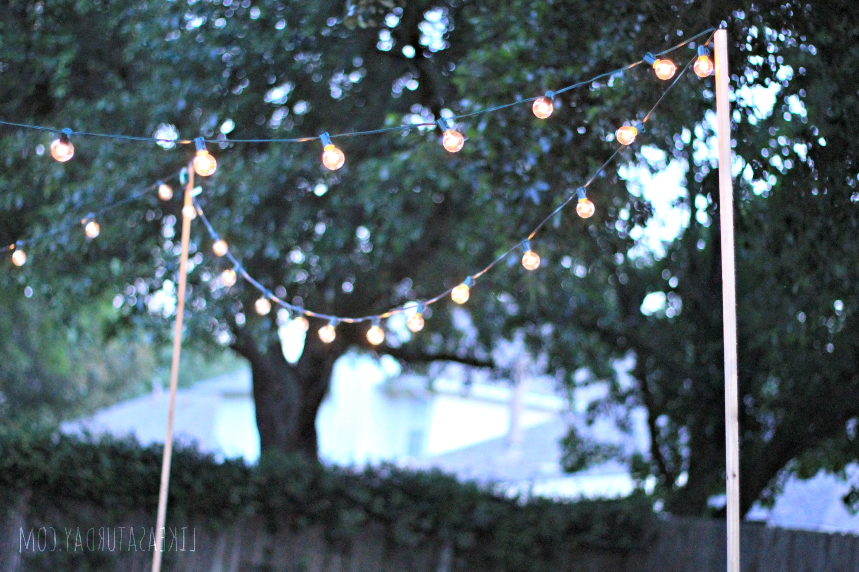 Hanging Outdoor Christmas Lights Without Nails With Regard To Well Known Diy : Outdoor String Lights Hanging Brick Patio Without Nails Party (View 20 of 20)