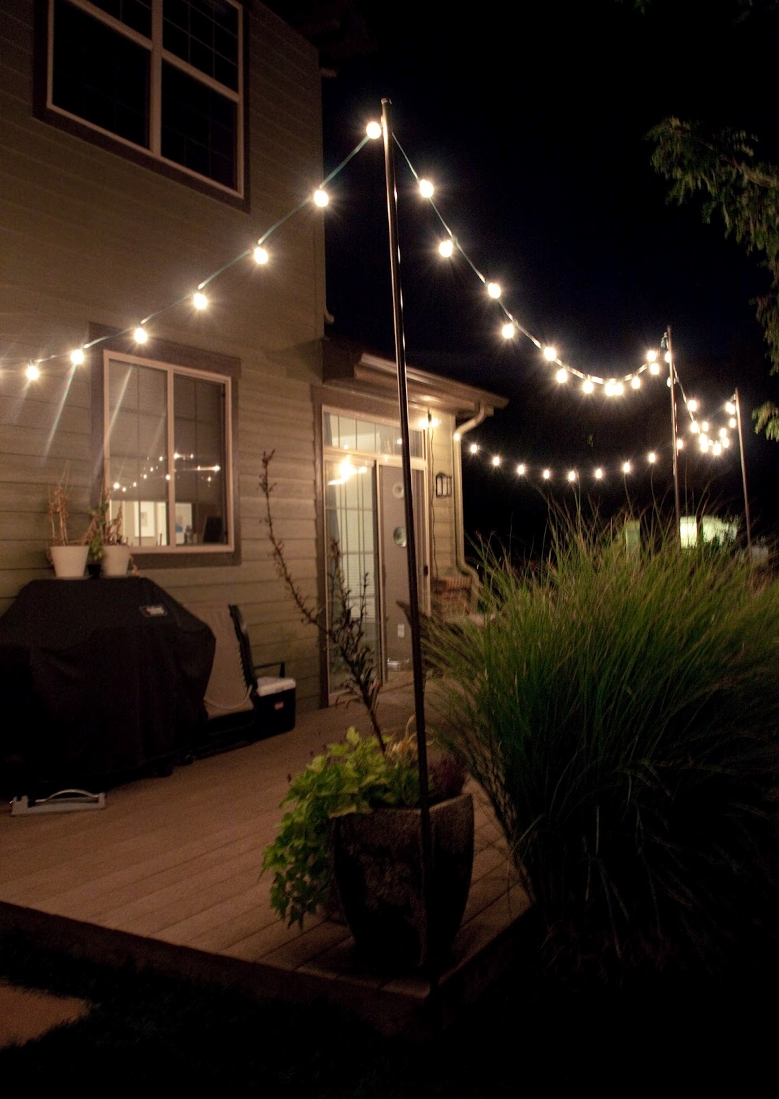 Hanging Outdoor Lights In Backyard With Well Liked Diy String Light Poles In Under One Hour For Less Than $ (View 9 of 20)