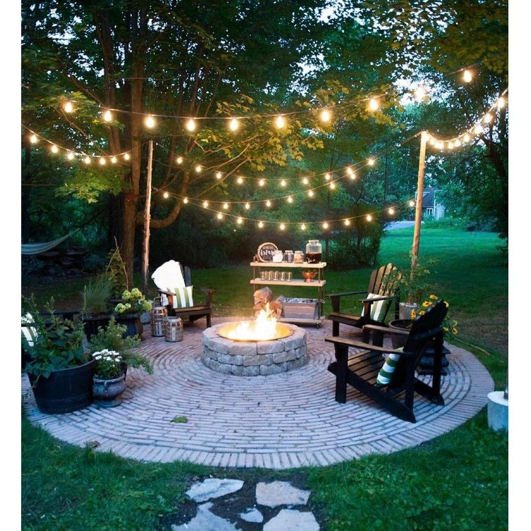 Hanging Outdoor Lights On Brick Inside Current 20 Dreamy Ways To Use Outdoor String Lights In Your Backyard (View 14 of 20)