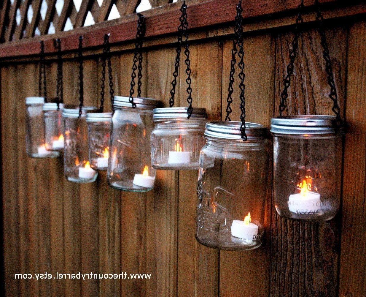 Hanging Outdoor Lights On Fence Within 2018 Mason Jar Lanterns Hanging Tea Lightthecountrybarrel On Etsy (Gallery 16 of 20)