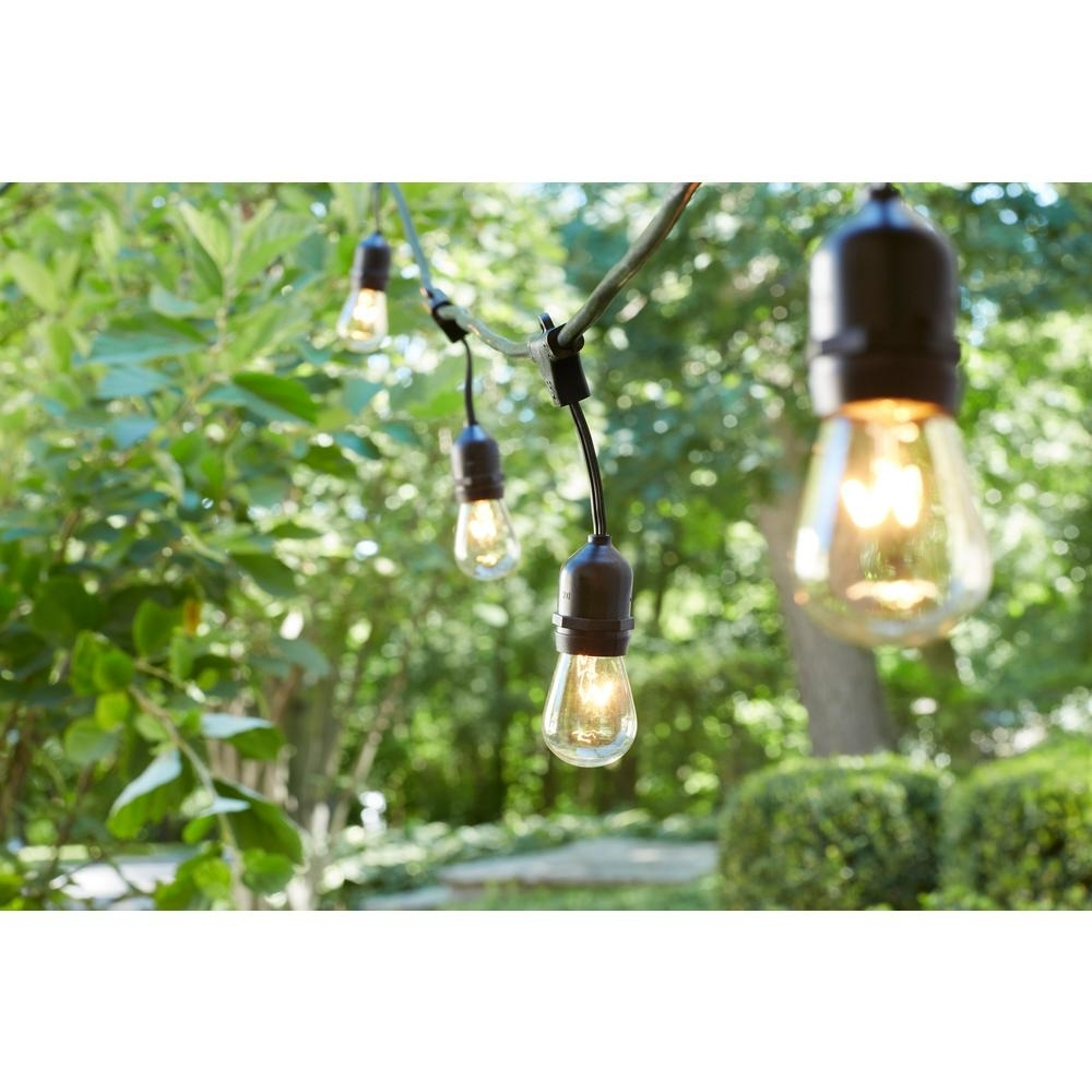 Hanging Outdoor String Lights At Home Depot Within Most Popular Hampton Bay 48 Ft (View 11 of 20)