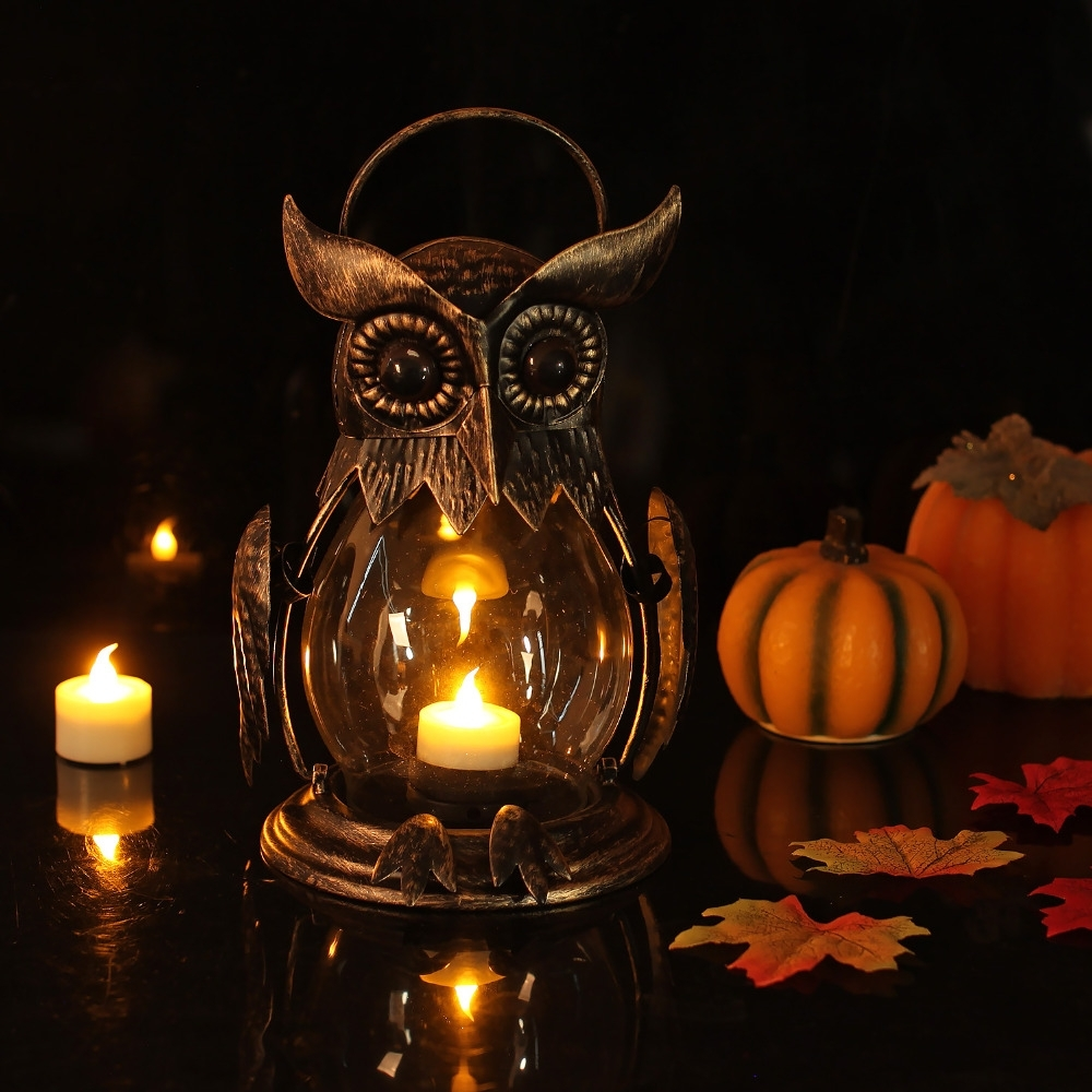 Hanging Outdoor Tea Light Lanterns Pertaining To Recent Owl Tealight Holder Hurricane Candleholders, Hanging Lantern For (View 8 of 20)