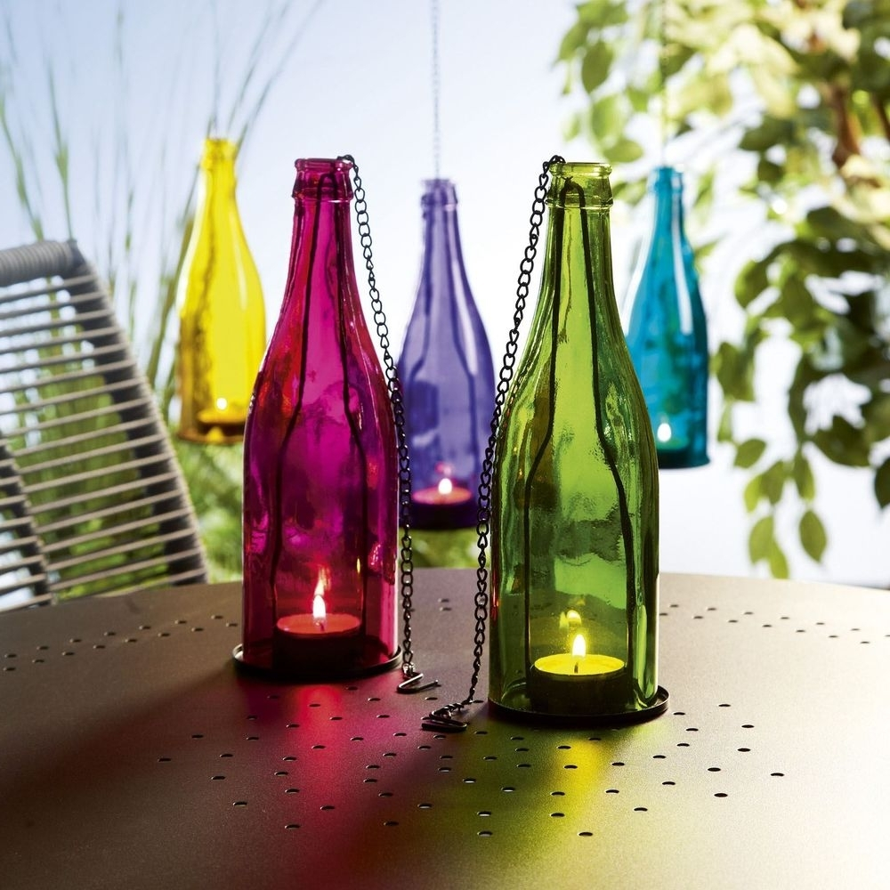 Hanging Outdoor Tea Light Lanterns Pertaining To Well Known New Coloured Glass Bottle Tealight Holder Hanging Garden Lantern (View 4 of 20)