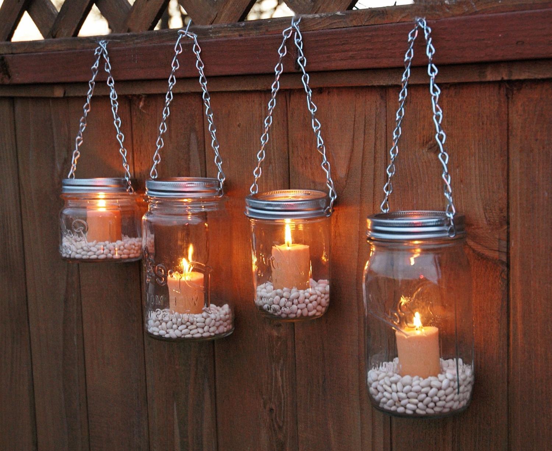 Hanging Outdoor Tea Light Lanterns Throughout Well Liked Lighting : Hanging Mason Jar Garden Lights Diy Lids Set (View 10 of 20)