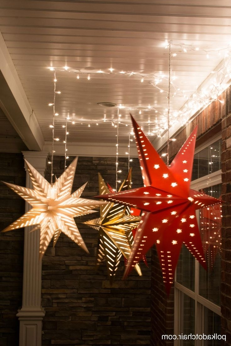 Hanging Star Lanterns; A Christmas Front Porch Decorating Idea Regarding Well Liked Outdoor Hanging Star Lanterns (View 12 of 20)