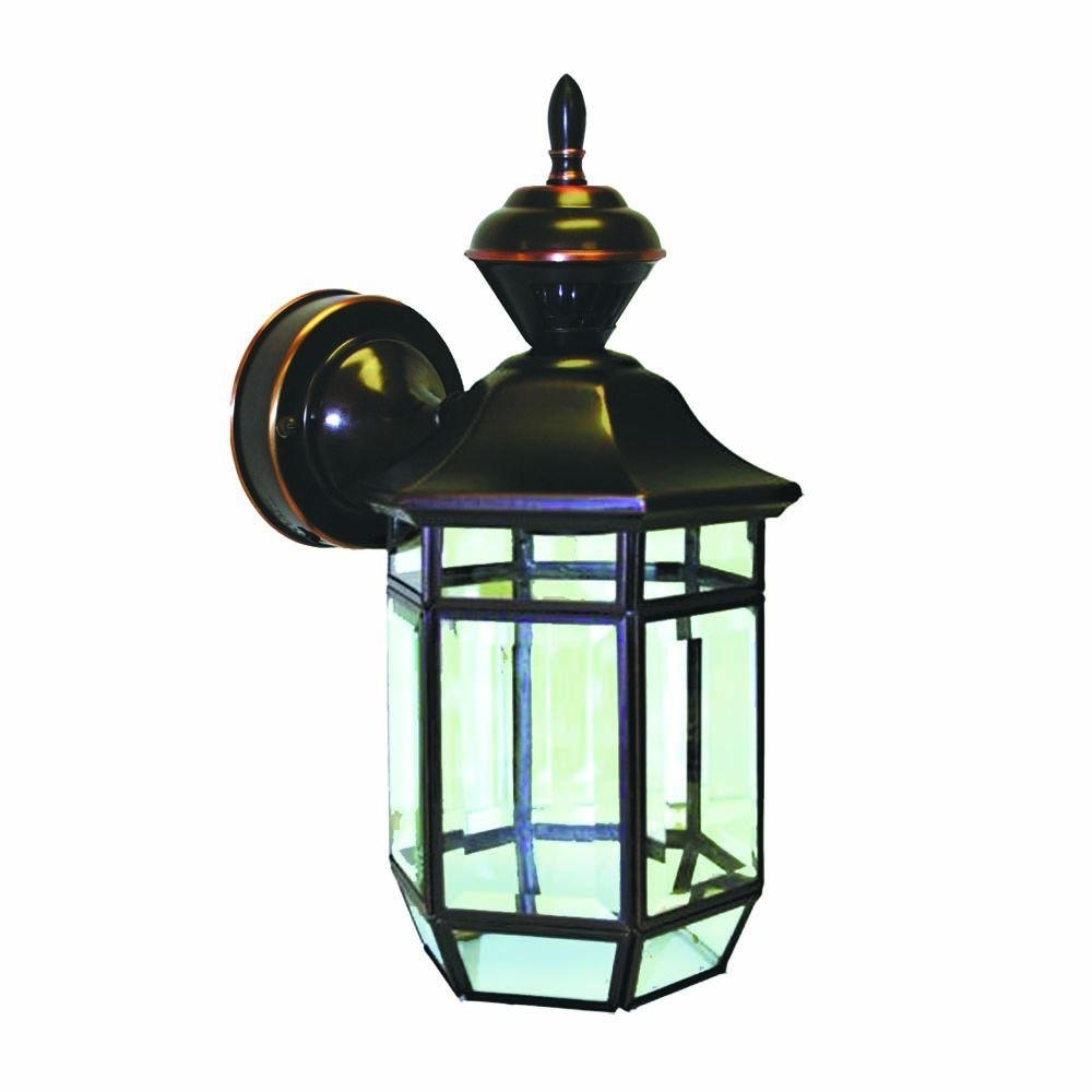 Heath Zenith 150 Degree Antique Copper Lexington Lantern With Clear With Regard To Newest Heath Zenith Outdoor Wall Lighting (View 7 of 20)