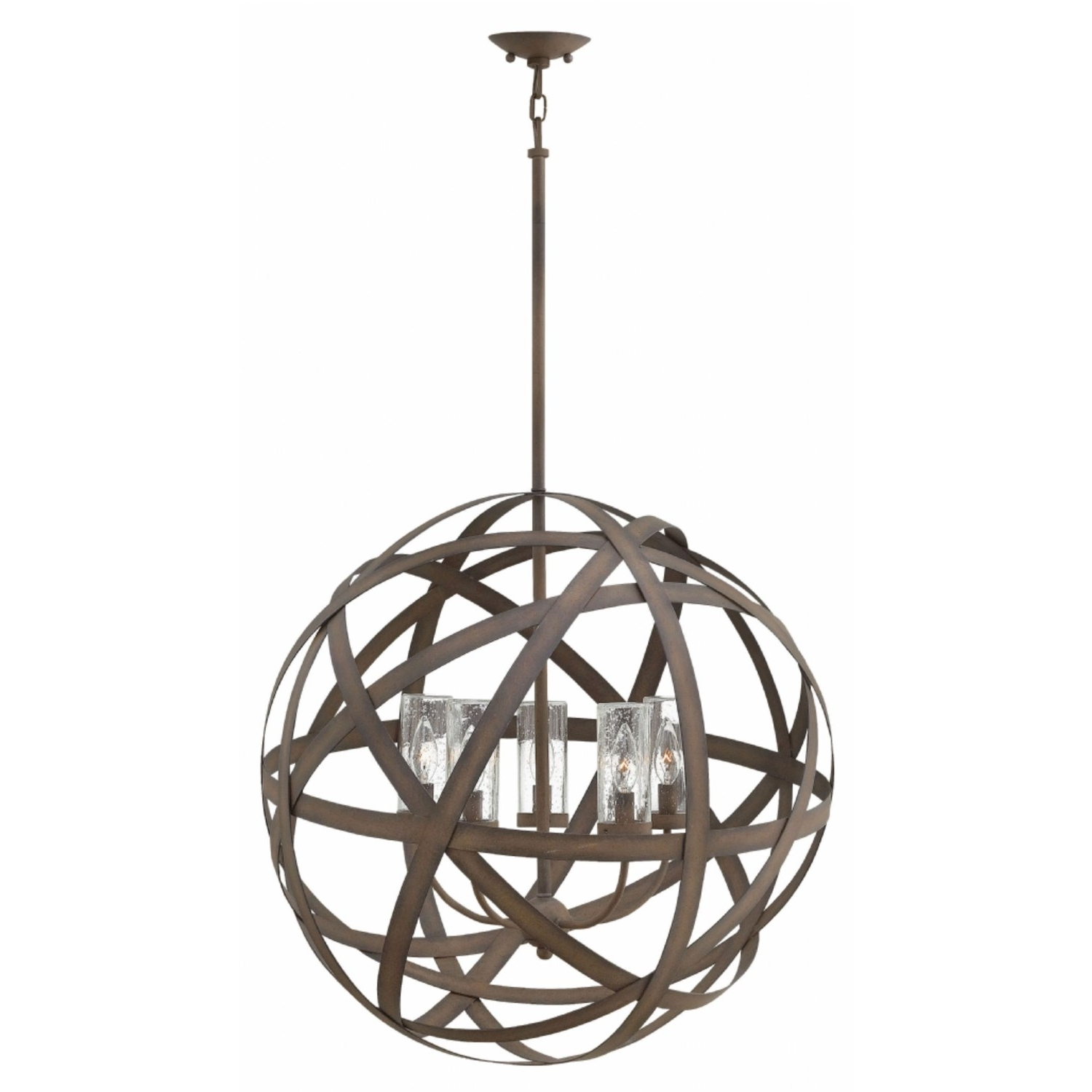 Hinkley Outdoor Ceiling Lights Pertaining To Most Recent Hinkley 29705vi Carson 5 Light Outdoor Pendant In Vintage Iron (View 8 of 20)