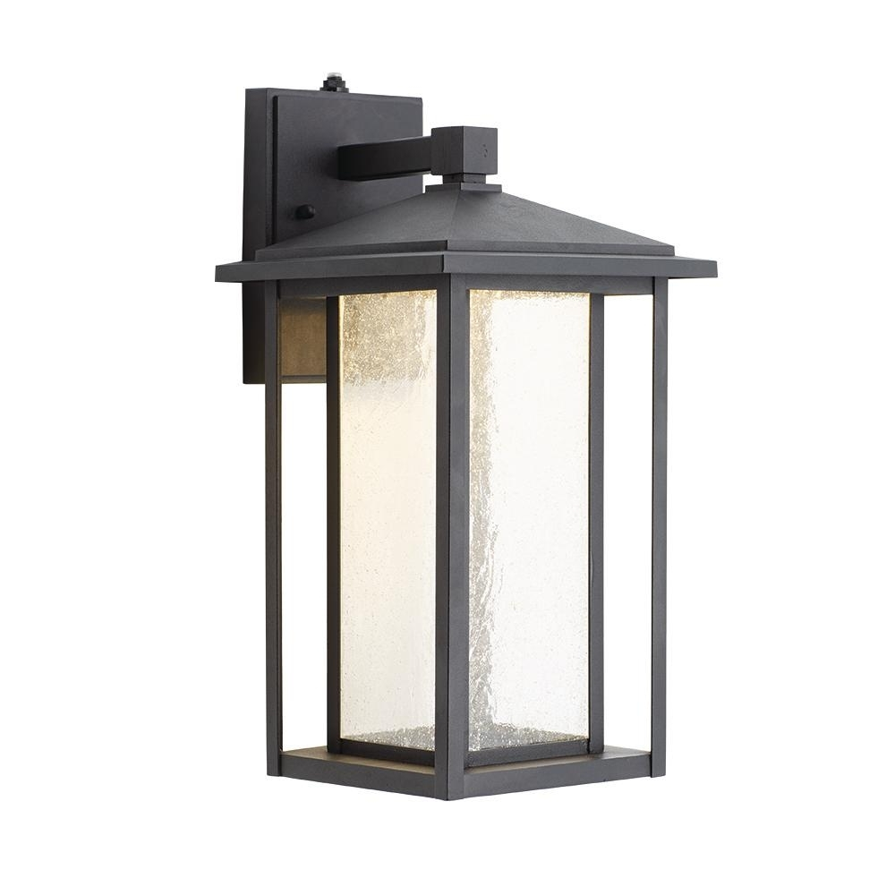 Home Decorators Collection Black Medium Outdoor Seeded Glass Dusk To Regarding Well Liked Outdoor Wall Light Glass (View 6 of 20)