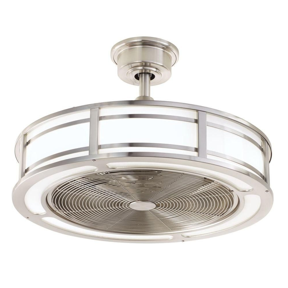 Home Decorators Collection Brette 23 In. Led Indoor/outdoor Brushed With Regard To Most Current Outdoor Ceiling Fans With Led Lights (Gallery 15 of 20)