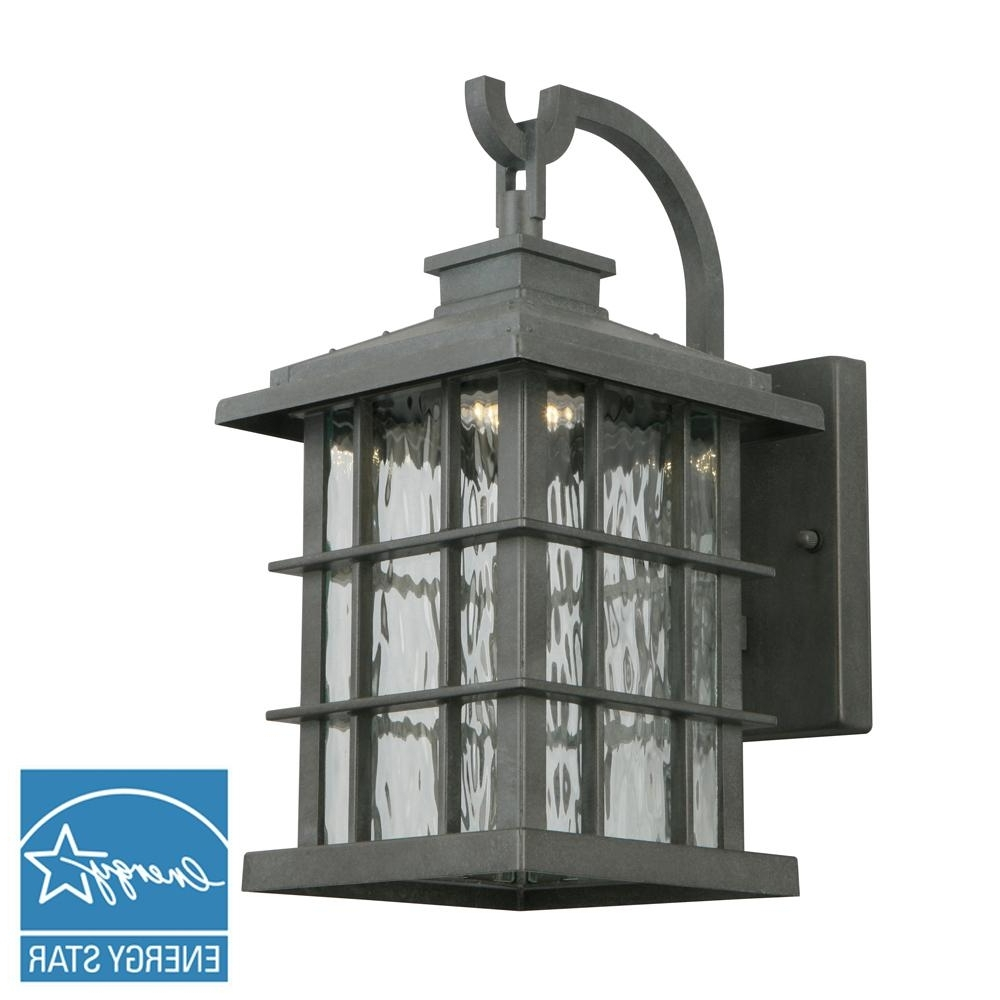 Home Decorators Collection Summit Ridge Collection Zinc Outdoor Pertaining To Most Popular Dusk To Dawn Led Outdoor Wall Lights (View 14 of 20)