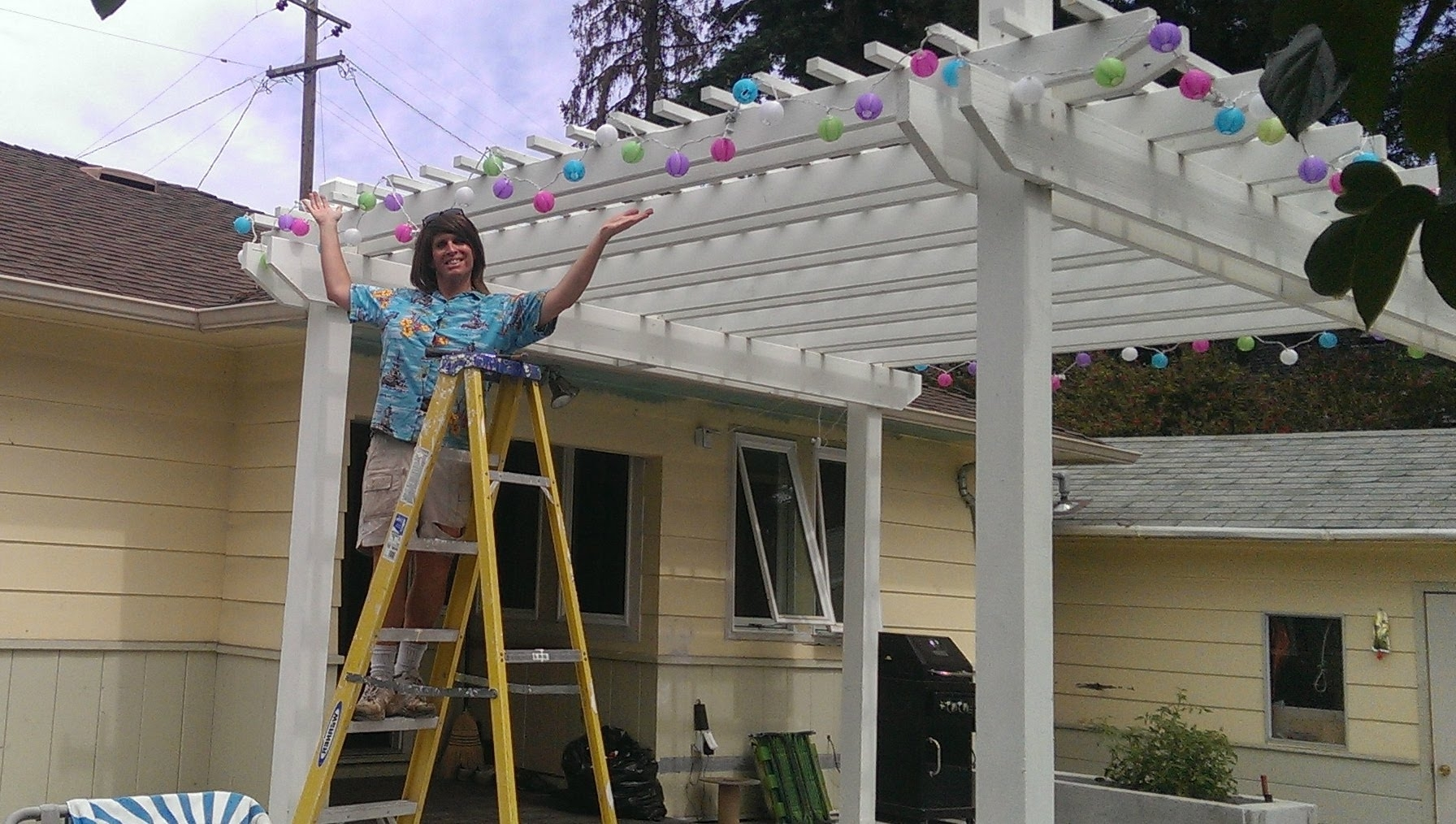 How To Hang Outdoor Party Lightsweekend Warrior Project – Youtube For Well Liked Outdoor Hanging Lights For Pergola (Gallery 14 of 20)