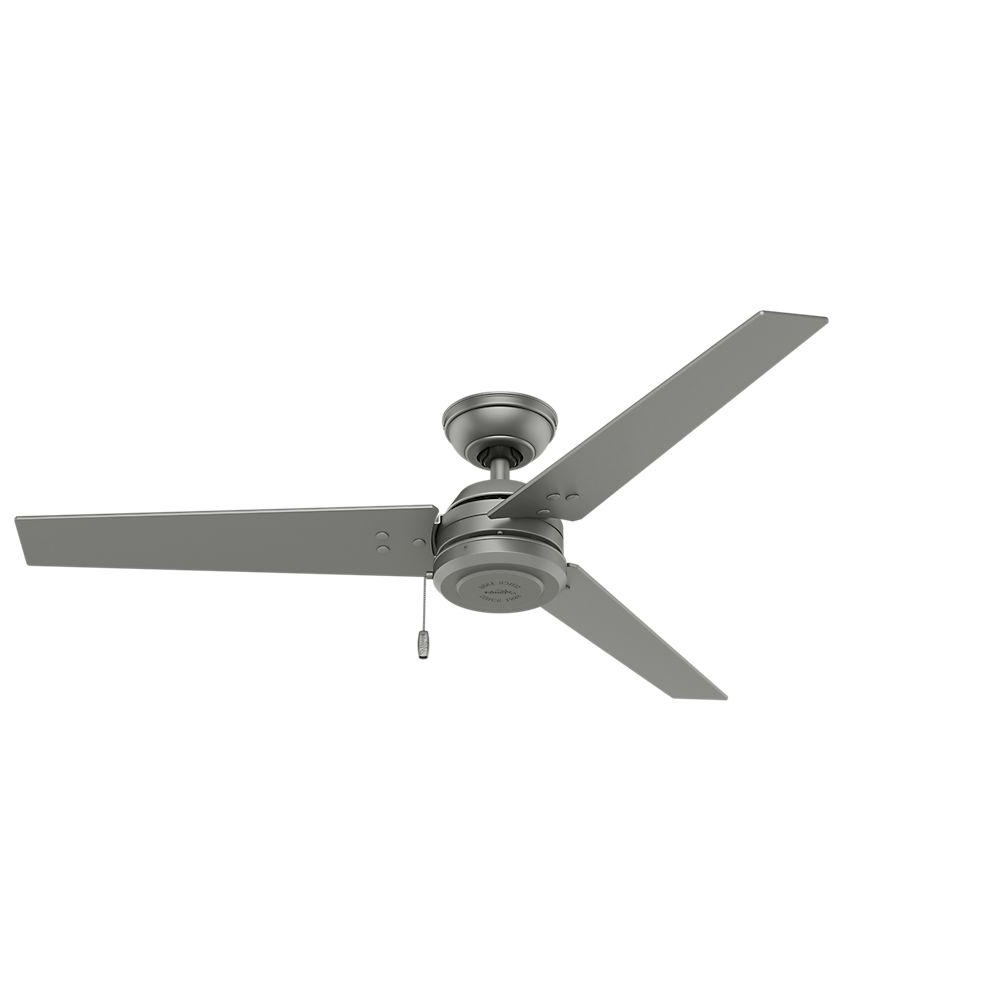 Hunter Cassius 52 In. Indoor/outdoor Matte Silver Ceiling Fan 59262 Intended For Favorite Hunter Outdoor Ceiling Fans With Lights And Remote (Gallery 11 of 20)