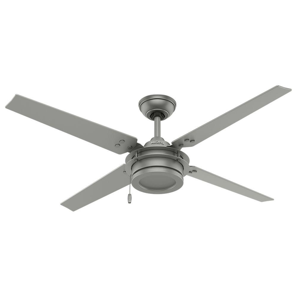Hunter Gunnar 54 In. Indoor/outdoor Matte Silver Ceiling Fan 59208 For Widely Used Hunter Outdoor Ceiling Fans With Lights And Remote (Gallery 8 of 20)