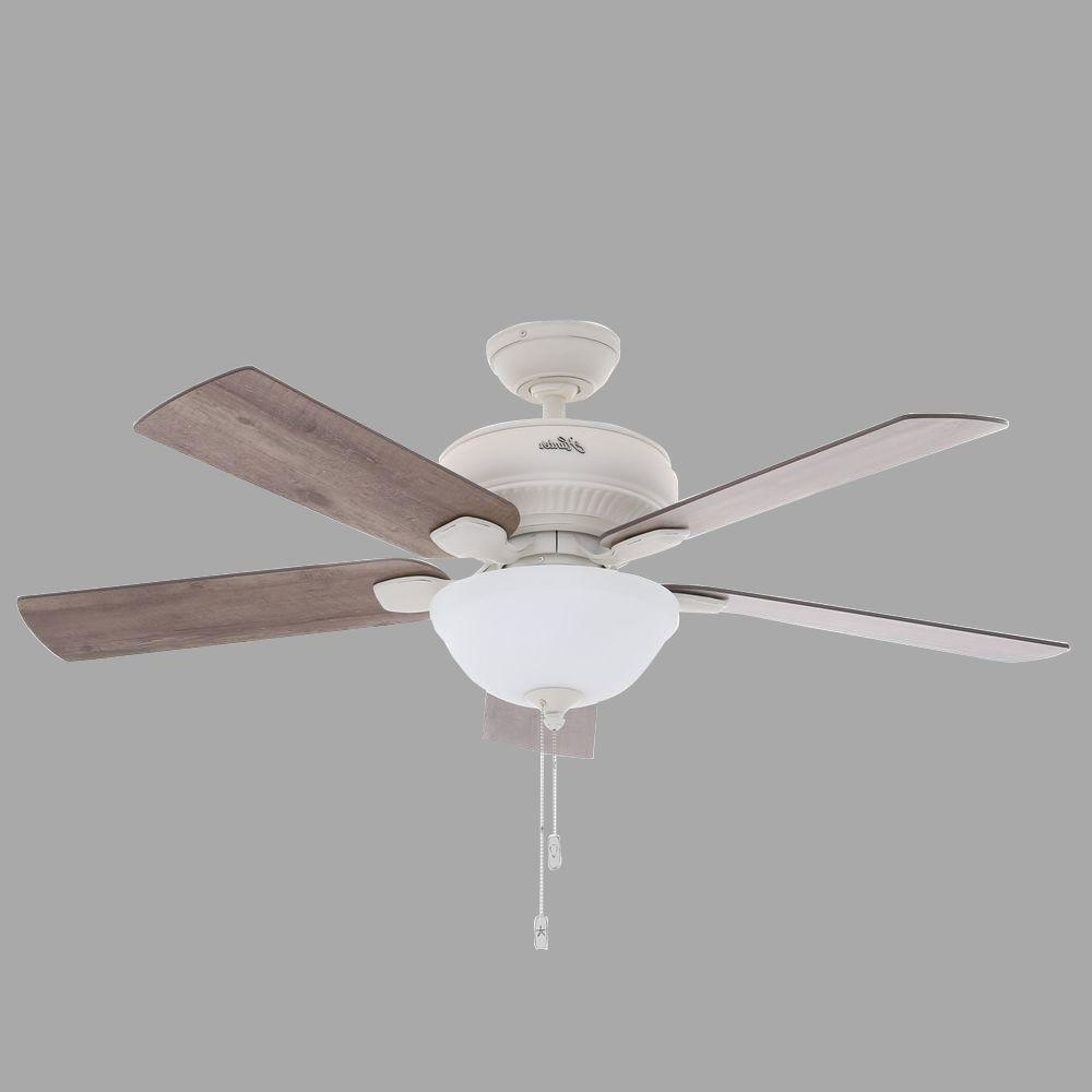 Hunter Matheston 52 In. Indoor/outdoor Cottage White Ceiling Fan For Newest White Outdoor Ceiling Lights (Gallery 20 of 20)