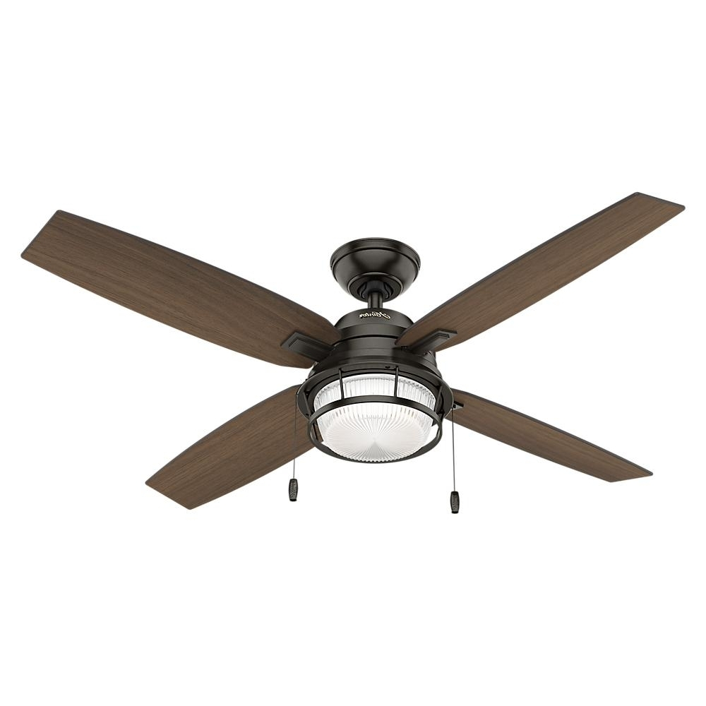 Hunter Ocala 52 In. Led Indoor/outdoor Autumn Creme White Ceiling In Well Known Outdoor Ceiling Fan Lights (Gallery 9 of 20)