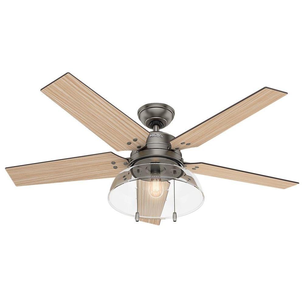 Indoor Outdoor Ceiling Fans Lights Intended For Well Known Hunter Lindbeck 52 In. Led Indoor/outdoor Brushed Slate Ceiling Fan (Gallery 12 of 20)