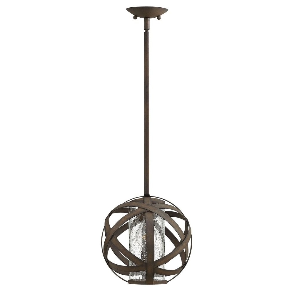 Industrial Vintage Seeded Glass Outdoor Hanging Light Iron Hinkley Throughout Most Recently Released Hinkley Outdoor Hanging Lights (Gallery 5 of 20)