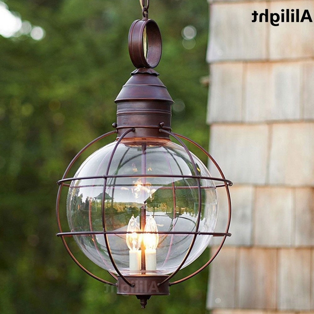 Iron Industrial Loft Outdoor Pendant Lamp Globe Multipurpose Porch Intended For Most Recent Outdoor Ceiling Mount Porch Lights (View 6 of 20)