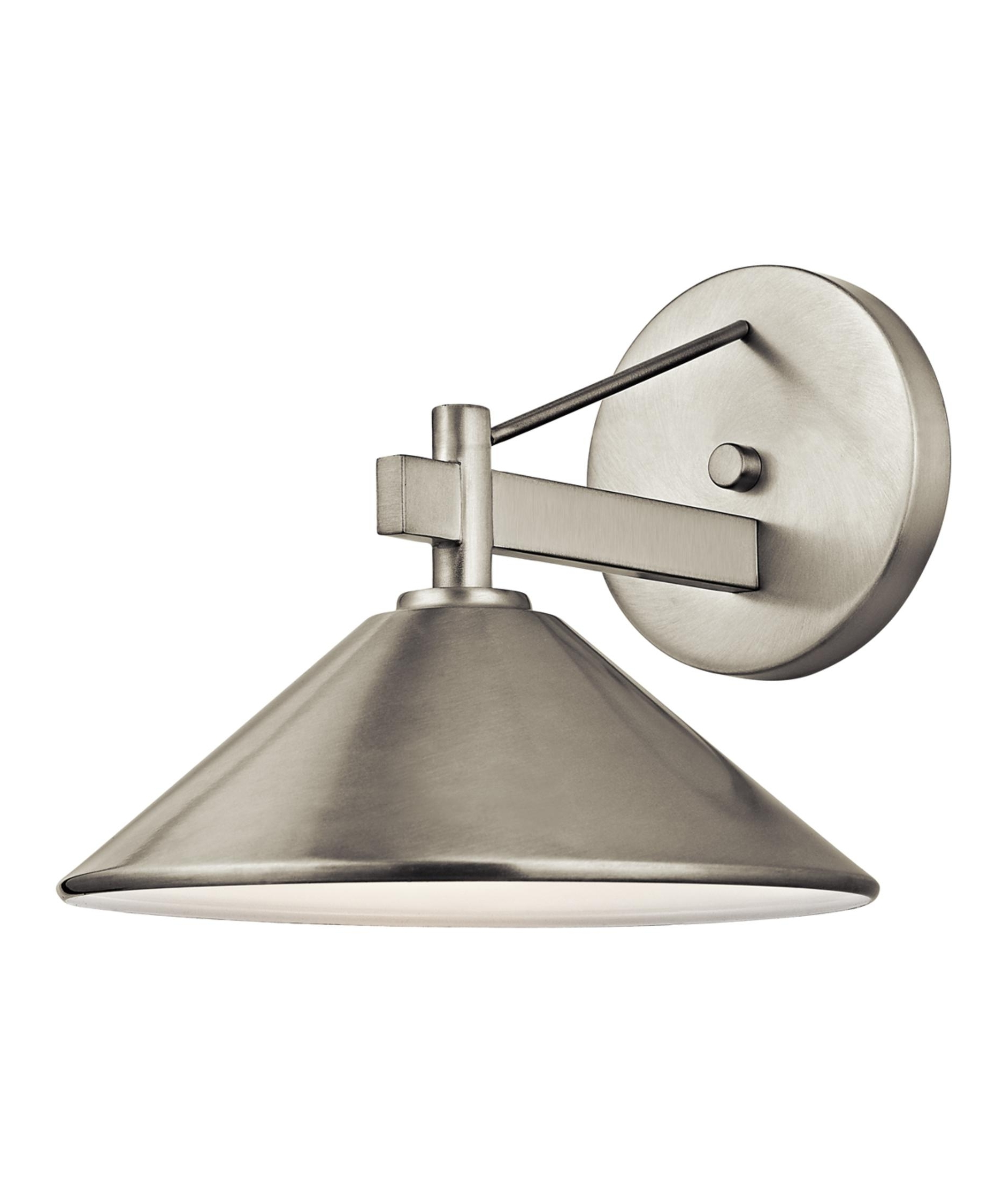 Kichler 49060 Ripley 10 Inch Wide 1 Light Outdoor Wall Light With Regard To Most Current Brushed Nickel Outdoor Wall Lighting (View 12 of 20)