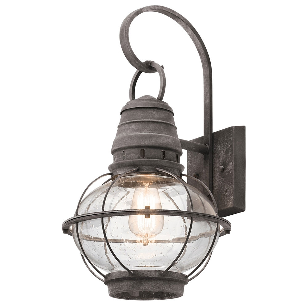 Kichler 49629Wzc Bridge Point Nautical Weathered Zinc Exterior Large With Popular Extra Large Outdoor Wall Lighting (View 15 of 20)