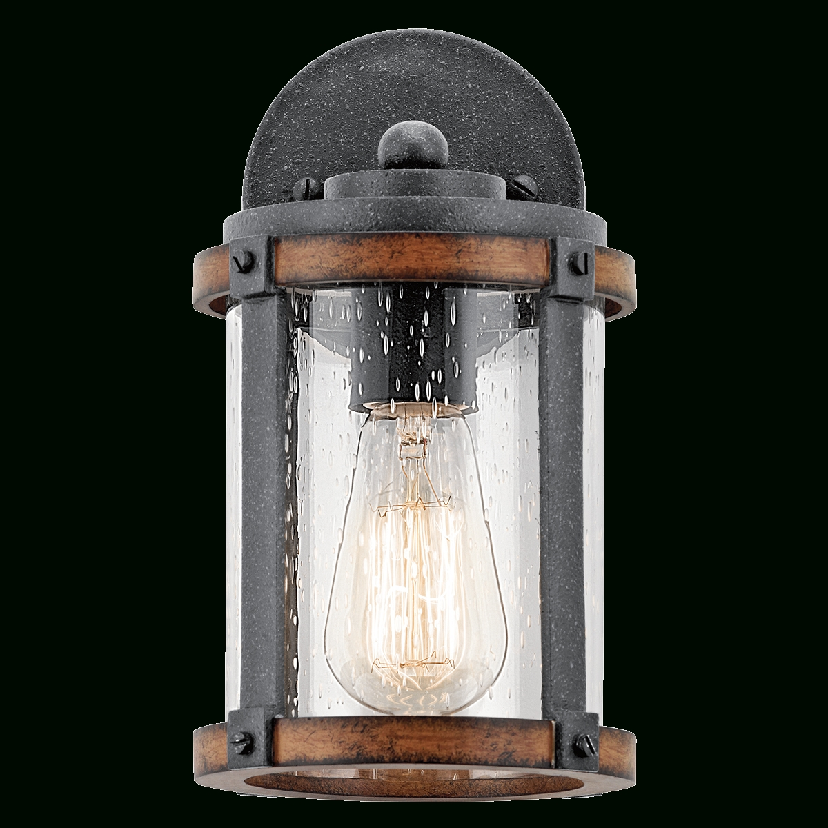 "Kichler Lighting Outdoor Wall Lanterns For Current Barrington 10"" 1 Light Outdoor Wall Light In Distressed Black & Wood (View 16 of 20)"