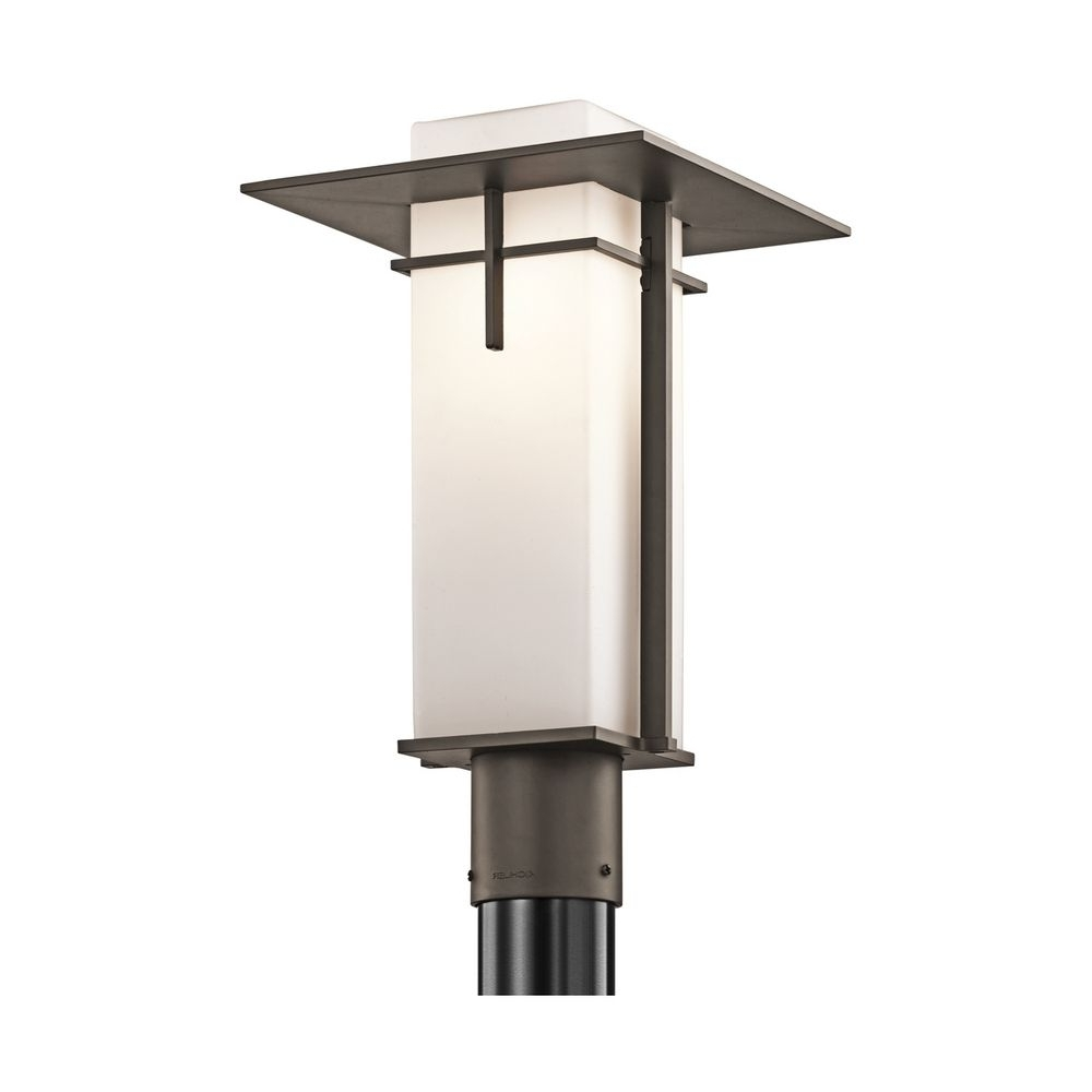 Kichler Modern Post Light With White Gl In Olde Bronze Finish Cur Outdoor