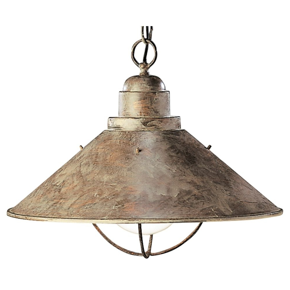 Kichler Nautical Pendant Light In Olde Brick Finish With Bulb Cage For Most Recently Released Nautical Outdoor Hanging Lights (View 4 of 20)