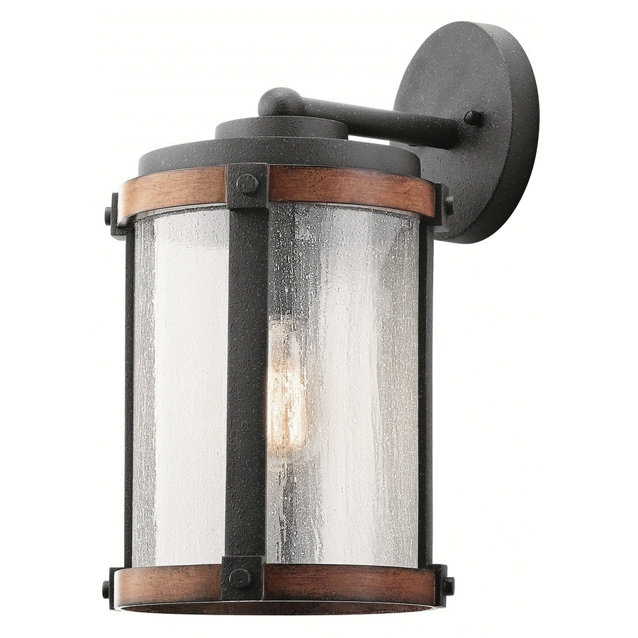 Kichler Outdoor Lighting Wall Sconces In Latest Shop Kichler Barrington 16 In H Distressed Black And Wood Medium (Gallery 8 of 20)