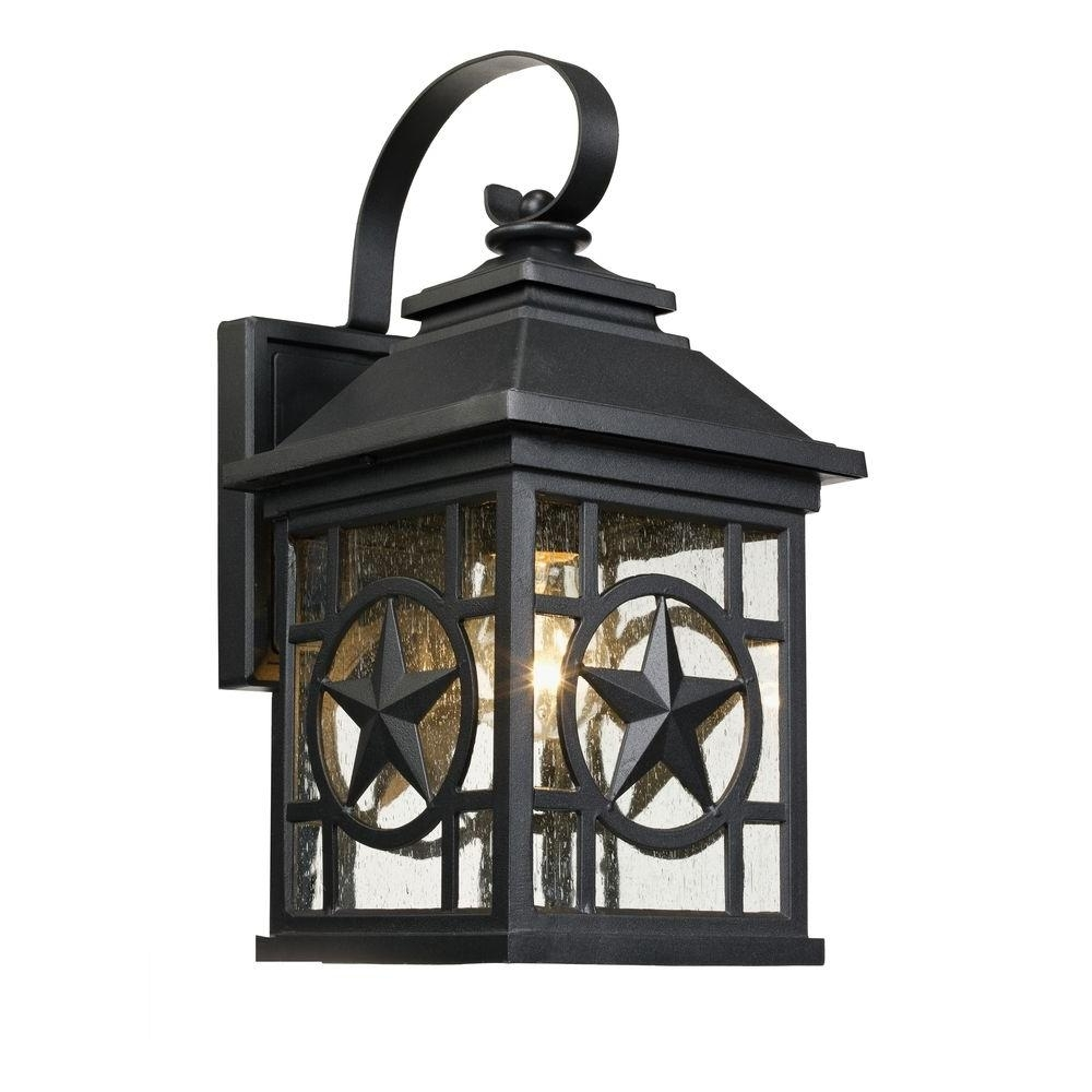 Laredo Texas Star Outdoor Black Medium Wall Lantern 1000 023 953 Intended For Most Popular Rustic Outdoor Lighting At Home Depot (View 2 of 20)