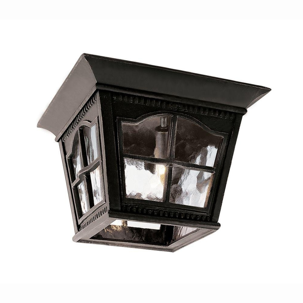 Latest Bel Air Lighting Bostonian 3 Light Outdoor Black Flush Mount Fixture Pertaining To Home Hardware Outdoor Ceiling Lights (View 9 of 20)