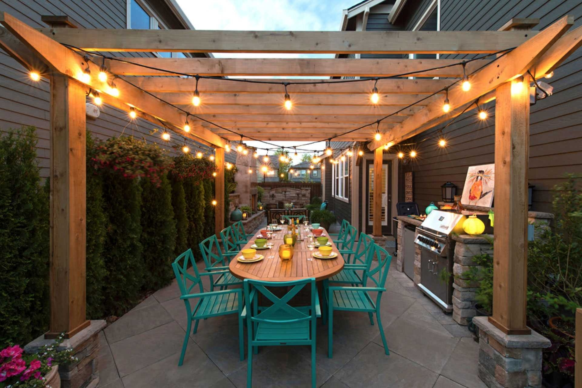 Latest Best Way Hang Outdoor String Lights Wire 2018 Also Stunning Five With Regard To Outdoor Hanging Lights For Pergola (View 8 of 20)