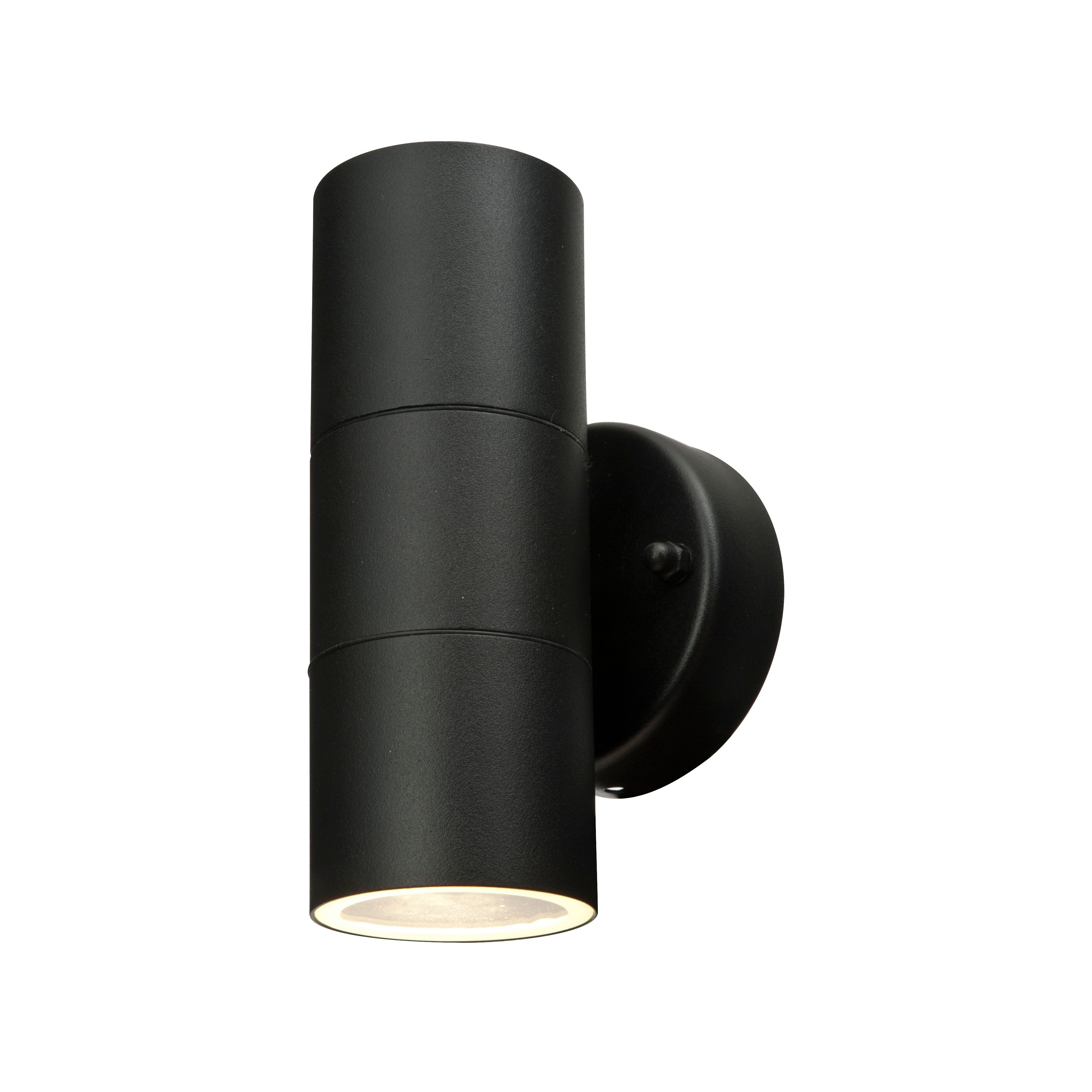 Latest Blooma Somnus Black Mains Powered External Up & Down Wall Light Within Outdoor Wall Lighting At B&q (View 11 of 20)