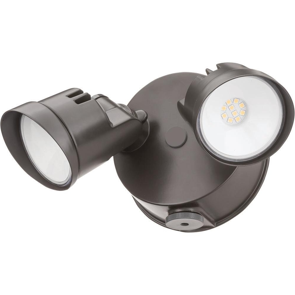 Latest Lithonia Lighting Wall Mount Outdoor White Led Floodlight With Motion Sensor Throughout Lithonia Lighting Adjustable Twin Head Dark Bronze 120 Watt 4000K (View 5 of 20)