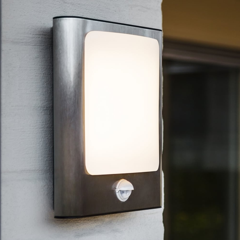 Latest Lutec Face 13w Pir Exterior Led Wall Light In Stainless Steel Within Outdoor Led Wall Lights With Pir (Gallery 7 of 20)