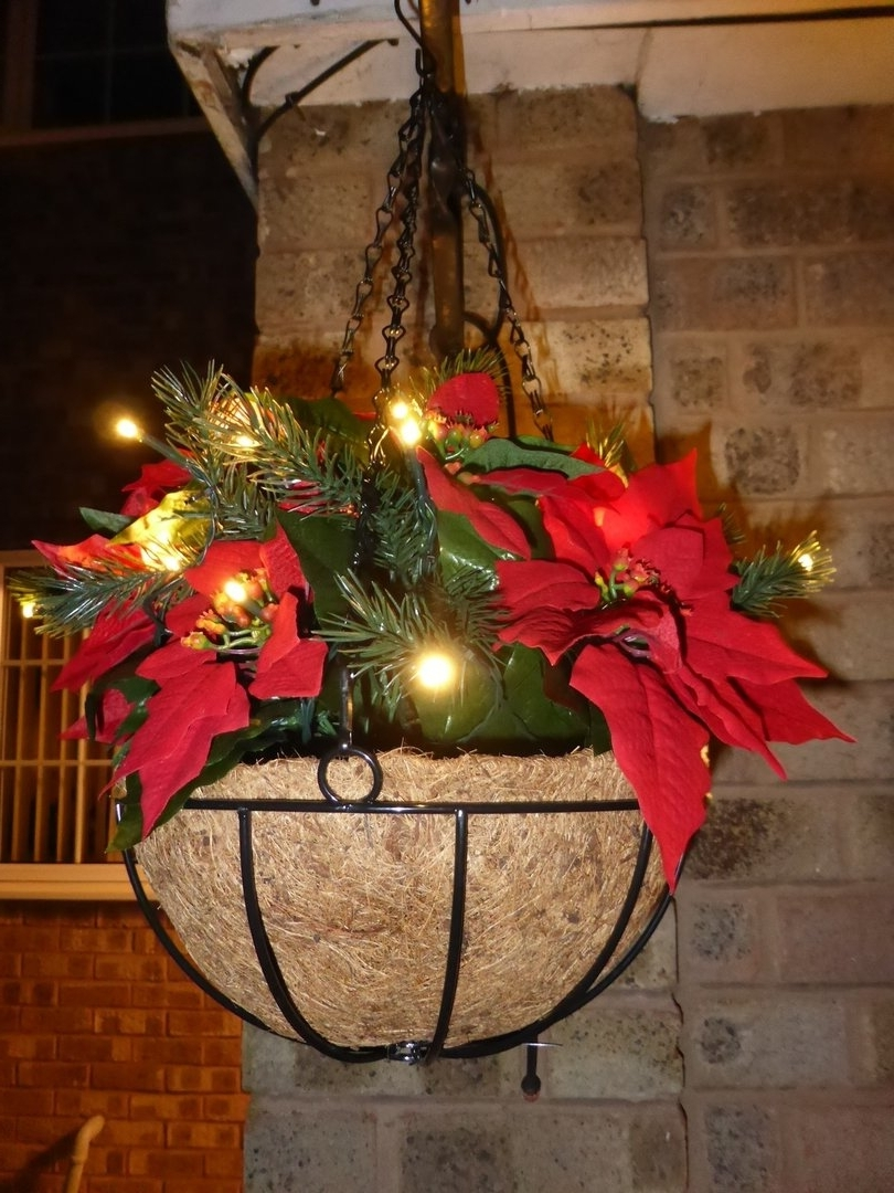 Latest Outdoor Hanging Basket Lights Inside 30Cm Christmas Artificial Poinsettia Hanging Basket – Warm White Led (View 7 of 20)