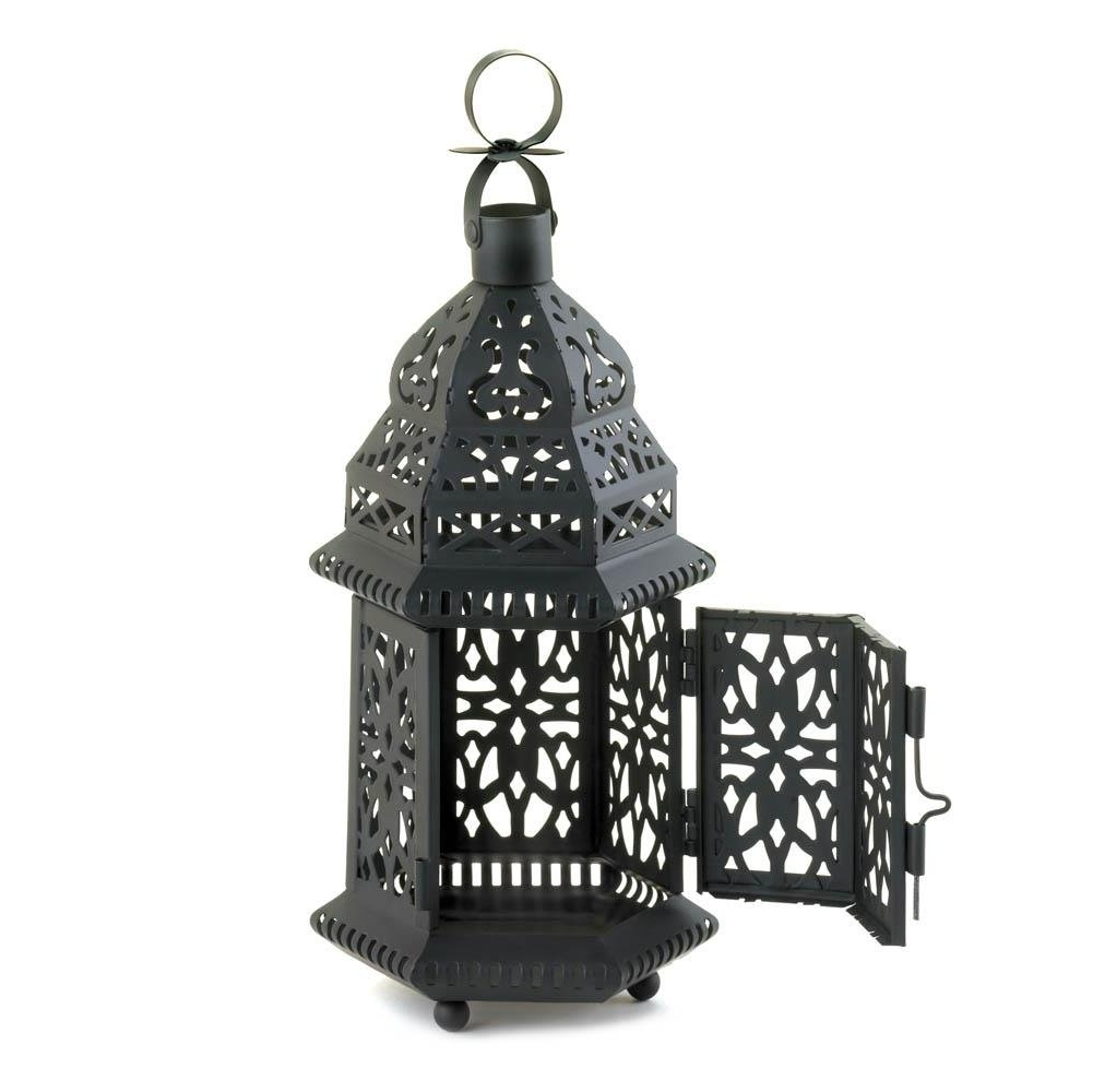 Latest Outdoor Hanging Decorative Lanterns Throughout Metal Lanterns, Moroccan Hanging Decorative Floor Patio Lantern (View 6 of 20)