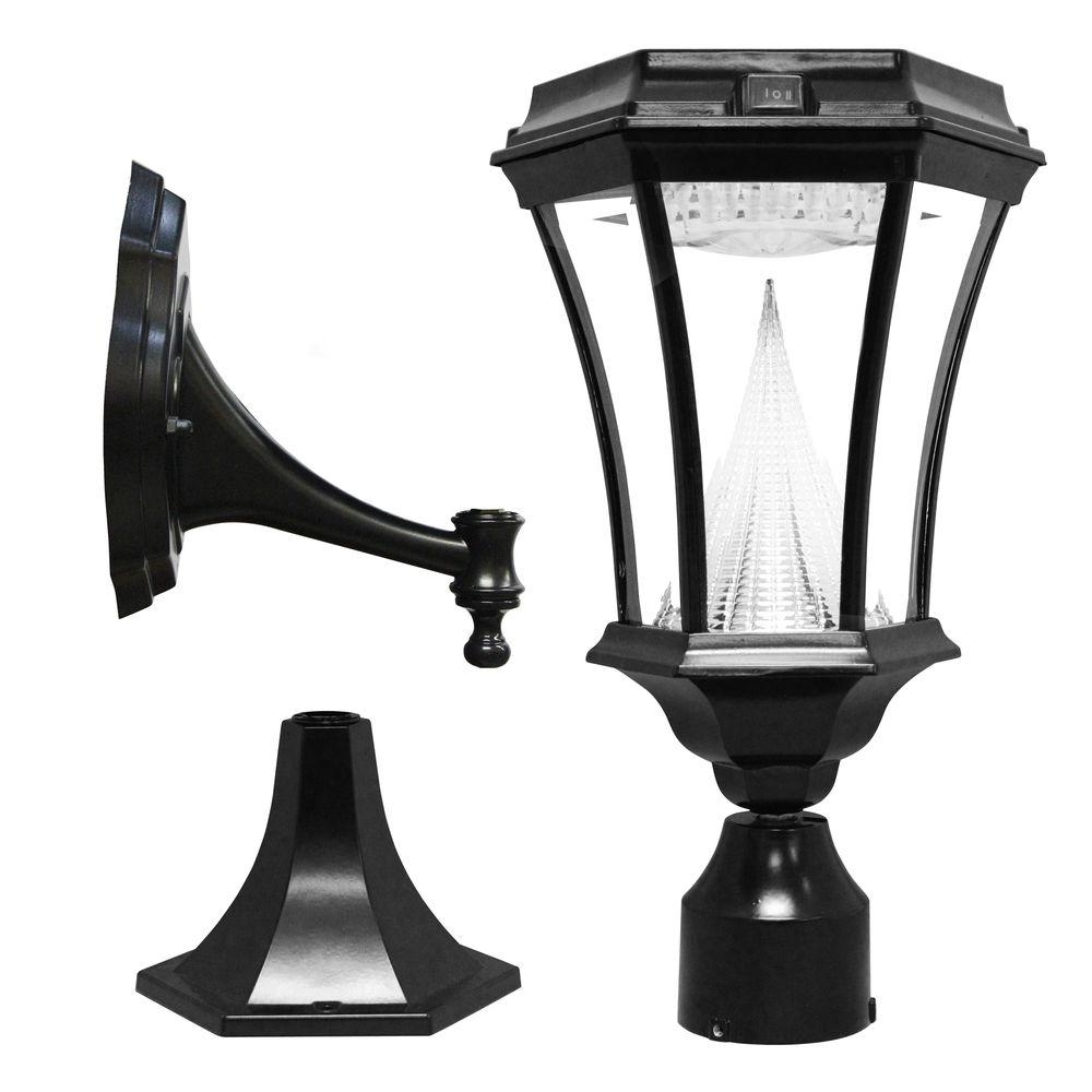 Latest Outdoor Wall And Post Lighting With Gama Sonic Victorian Single Black Integrated Led Outdoor Solar Lamp (View 14 of 20)