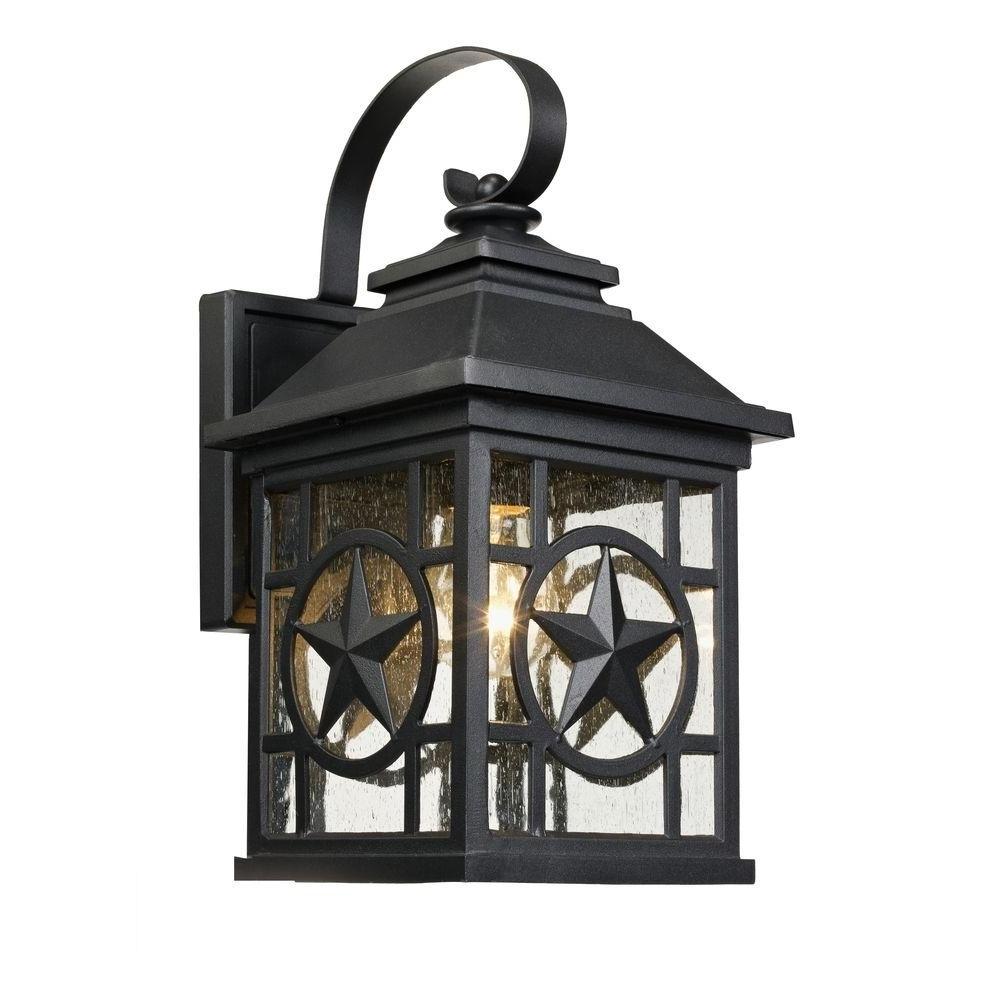 Latest Outdoor Wall Porch Lights Inside Laredo Texas Star Outdoor Black Medium Wall Lantern 1000 023 (View 7 of 20)