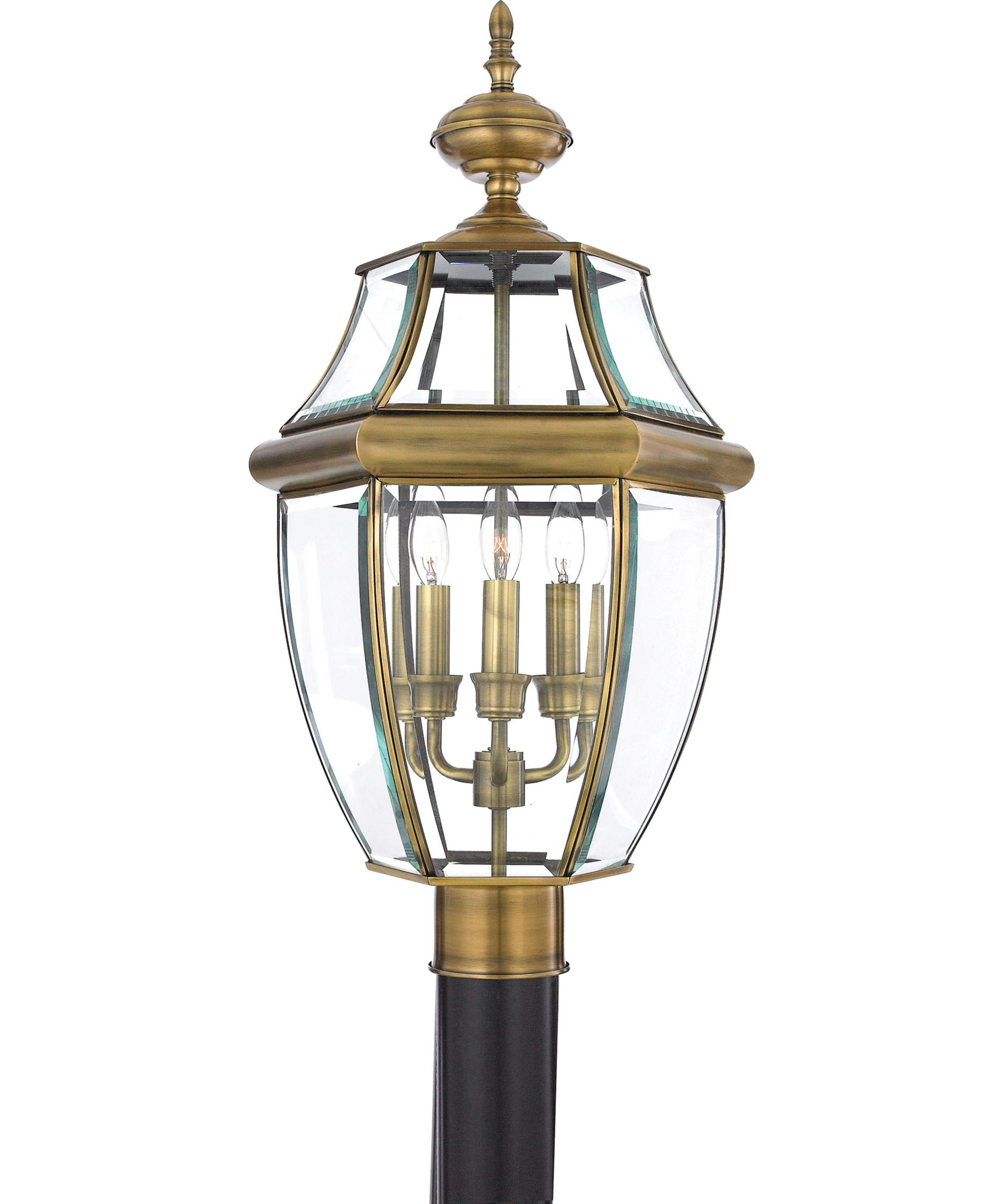 Latest Quoizel Ny9043 Newbury 12 Inch Wide 3 Light Outdoor Post Lamp Inside Antique Brass Outdoor Lighting (View 9 of 20)