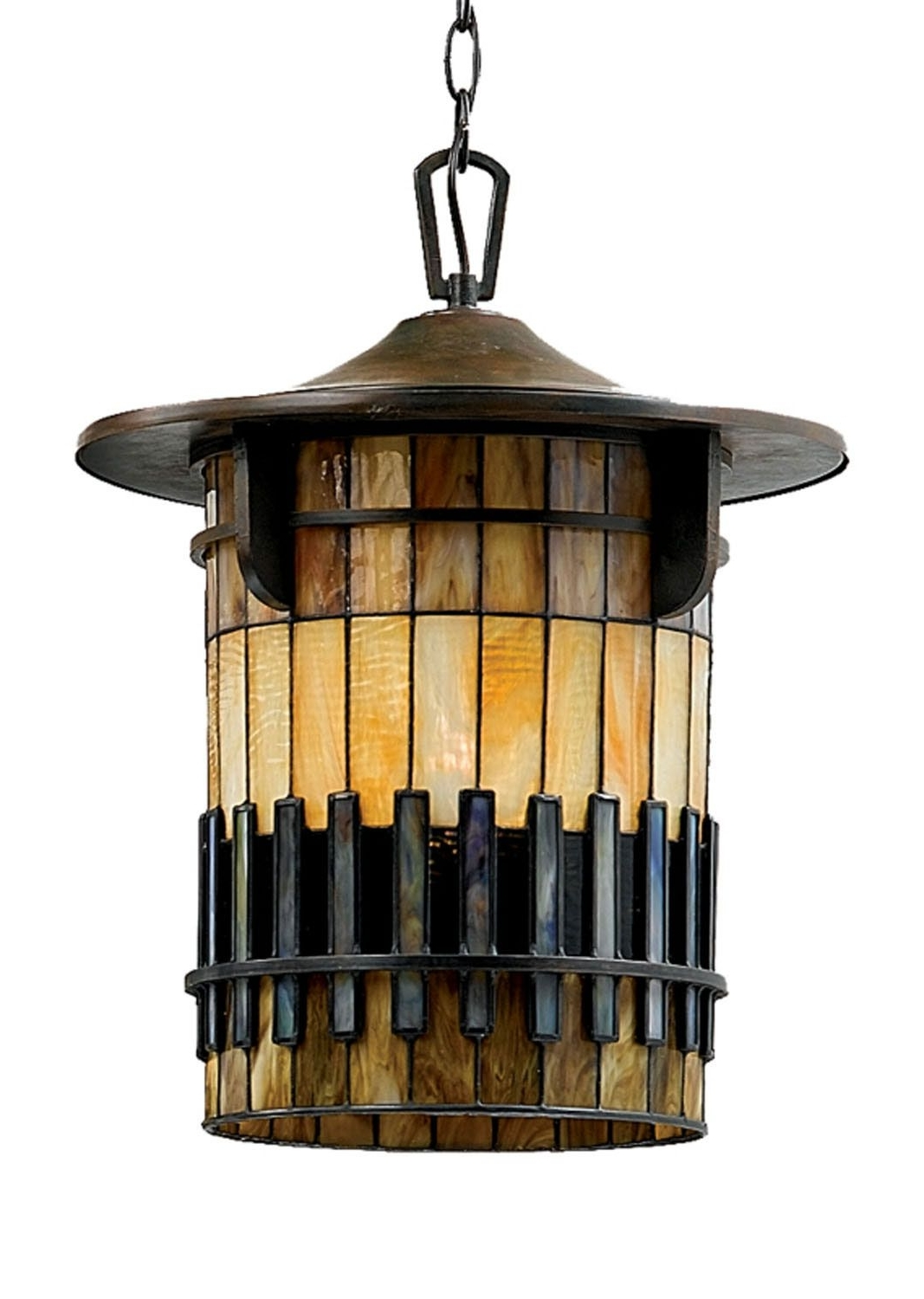 Latest Quoizel Outdoor Hanging Lights Inside One Light Outdoor Hanging, Art Glass, Tiffany Glass, Mission Style (Gallery 17 of 20)