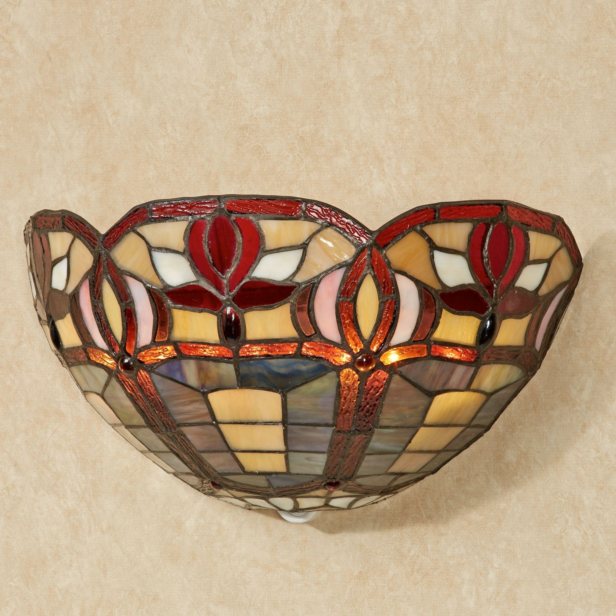 Latest Stained Glass Outdoor Wall Lights Pertaining To Roses Stained Glass Led Wall Sconce (View 7 of 20)