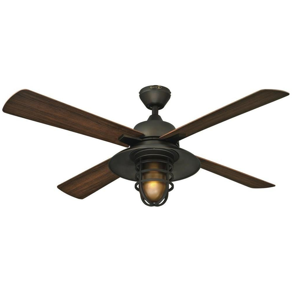 Latest Westinghouse Great Falls 52 In. Indoor/outdoor Oil Rubbed Bronze Regarding Outdoor Ceiling Fans With Flush Mount Lights (Gallery 7 of 20)
