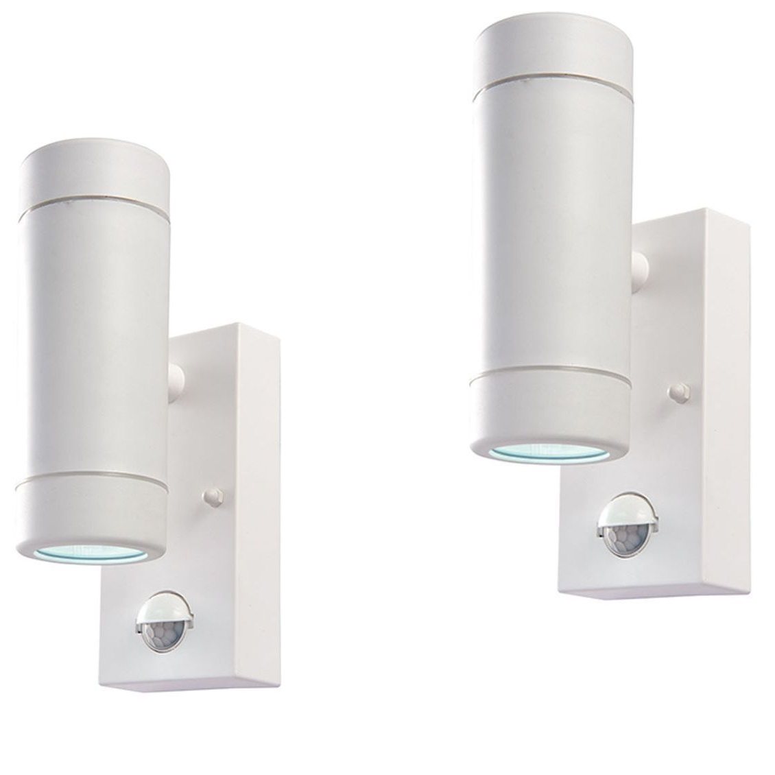 Latest White Led Outdoor Wall Lights Pertaining To Pair Saxby 61007 Icarus Pir White  (View 9 of 20)